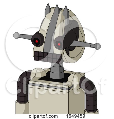 Tan Mech with Droid Head and Keyboard Mouth and Black Glowing Red Eyes and Three Spiked by Leo Blanchette