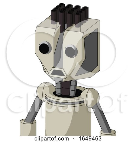Tan Mech with Mechanical Head and Sad Mouth and Two Eyes and Pipe Hair by Leo Blanchette