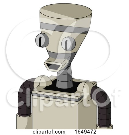 Tan Mech with Vase Head and Happy Mouth and Two Eyes by Leo Blanchette