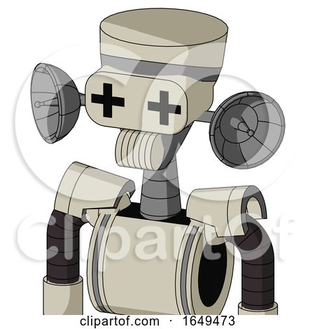 Tan Mech with Vase Head and Speakers Mouth and Plus Sign Eyes by Leo Blanchette