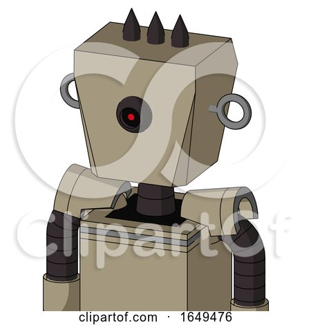 Tan Robot with Box Head and Black Cyclops Eye and Three Dark Spikes by Leo Blanchette