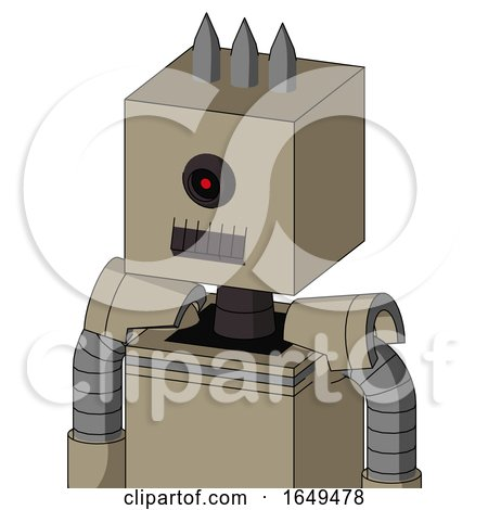 Tan Robot with Box Head and Dark Tooth Mouth and Black Cyclops Eye and Three Spiked by Leo Blanchette