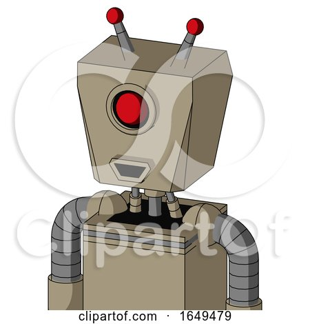 Tan Robot with Box Head and Happy Mouth and Cyclops Eye and Double Led Antenna by Leo Blanchette