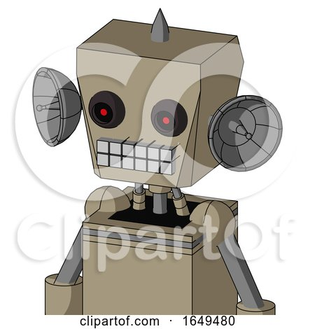 Tan Robot with Box Head and Keyboard Mouth and Black Glowing Red Eyes and Spike Tip by Leo Blanchette