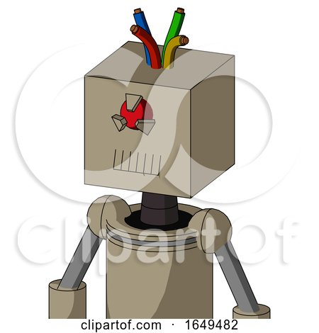 Tan Robot with Box Head and Toothy Mouth and Angry Cyclops Eye and Wire Hair by Leo Blanchette