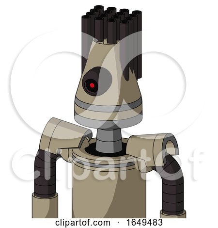 Tan Robot with Cone Head and Black Cyclops Eye and Pipe Hair by Leo Blanchette