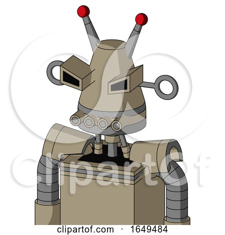 Tan Robot with Cone Head and Pipes Mouth and Angry Eyes and Double Led Antenna by Leo Blanchette