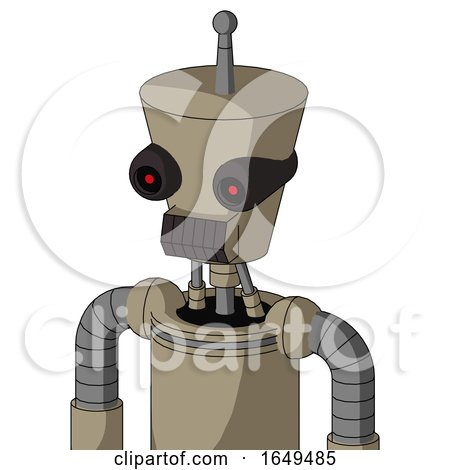 Tan Robot with Cylinder-Conic Head and Dark Tooth Mouth and Black Glowing Red Eyes and Single Antenna by Leo Blanchette
