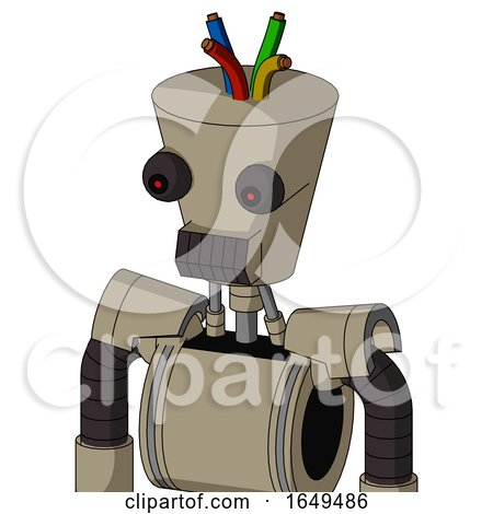 Tan Robot with Cylinder-Conic Head and Dark Tooth Mouth and Red Eyed and Wire Hair by Leo Blanchette