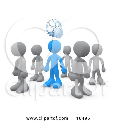 One Blue Person In A Group Of Gray People, Thinking Up A Creative Idea, With Gears Over His Head  Posters, Art Prints