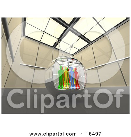 Diverse People In A Television Screen In A Futuristic Room  Posters, Art Prints