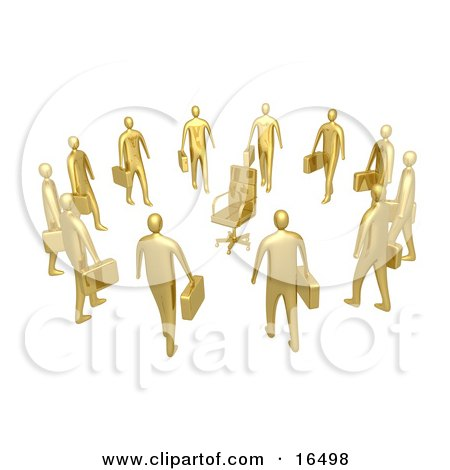 Group Of Gold Businessmen Standing In A Circle Around A Chair, Symbolizing Job Opportunities And Advancement  Posters, Art Prints