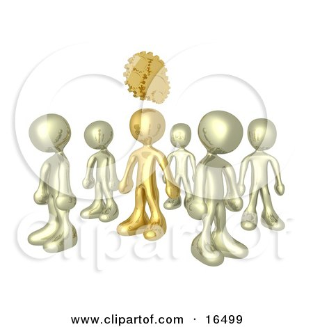 One Bronze Person In A Group Of Gold People, Thinking Up A Creative Idea, With Gears Over His Head  Posters, Art Prints