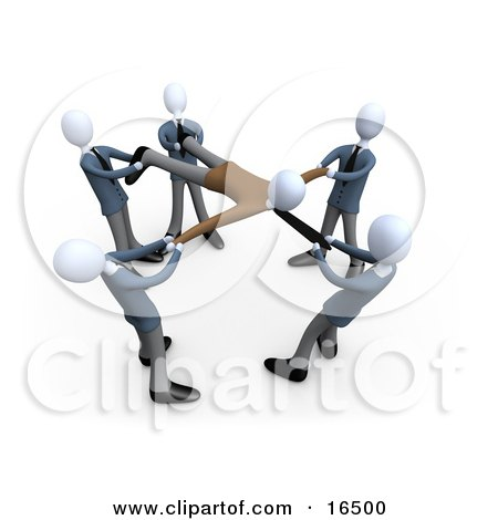 Circle Of Businessmen With Each Person Pulling On A Part Of A Client, All Fighting And Competing Over Their Customers Clipart Illustration Graphic by 3poD