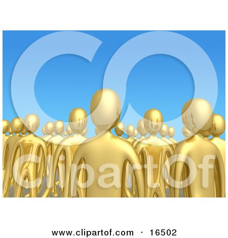 Crowd Of Gold People Standing Tall Together In A Group Against A Blue Sky Background, Symbolizing Unity And Teamwork  Posters, Art Prints