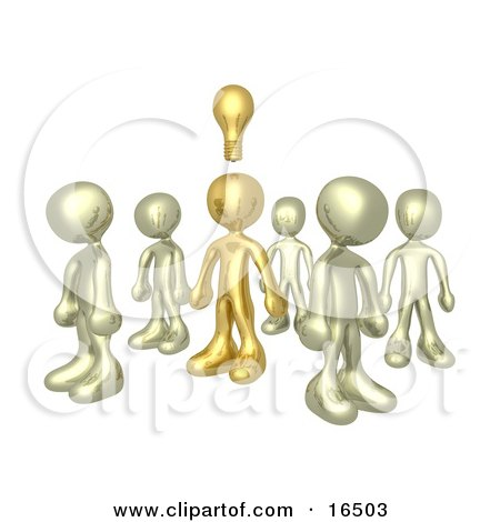 One Brass Person In A Group Of Gold People, Thinking Up A Creative Idea, With A Lightbulb Over His Head Clipart Illustration Graphic by 3poD