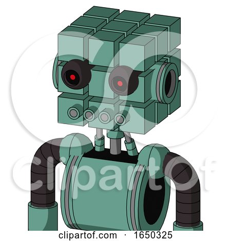 Green Mech with Cube Head and Pipes Mouth and Black Glowing Red Eyes by Leo Blanchette