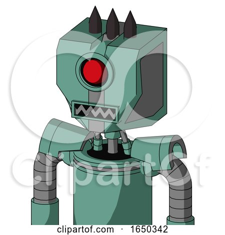 Green Mech with Mechanical Head and Square Mouth and Cyclops Eye and Three Dark Spikes by Leo Blanchette