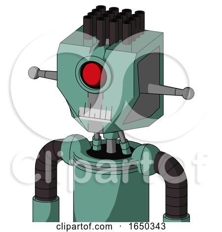 Green Mech with Mechanical Head and Teeth Mouth and Cyclops Eye and Pipe Hair by Leo Blanchette