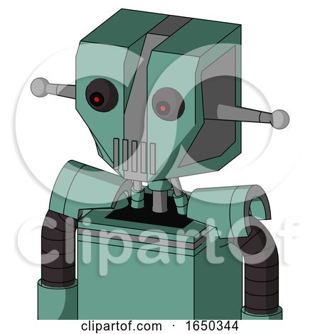 Green Mech with Mechanical Head and Vent Mouth and Red Eyed by Leo Blanchette