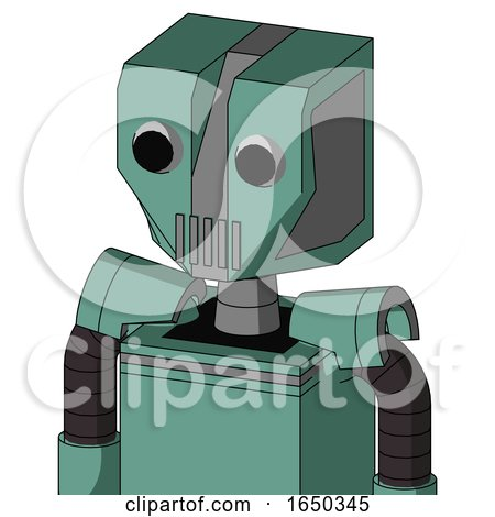 Green Mech with Mechanical Head and Vent Mouth and Two Eyes by Leo Blanchette