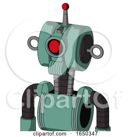Green Mech with Multi-Toroid Head and Speakers Mouth and Cyclops Eye and Single Led Antenna by Leo Blanchette