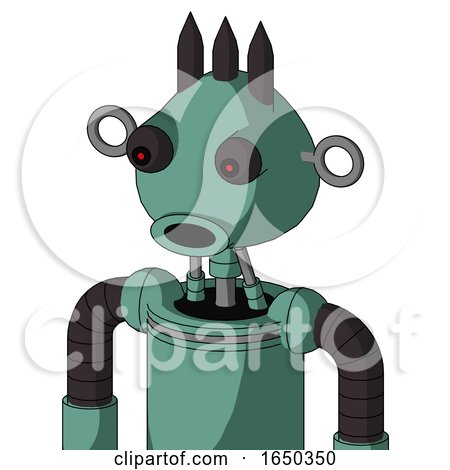 Green Mech with Rounded Head and Round Mouth and Red Eyed and Three Dark Spikes by Leo Blanchette