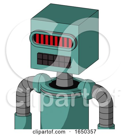 Greenish Mech with Box Head and Keyboard Mouth and Visor Eye by Leo Blanchette