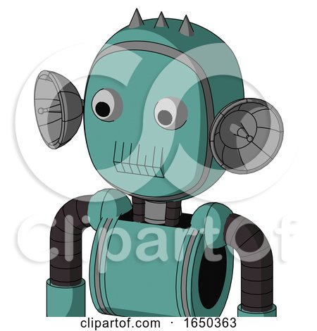 Greenish Mech with Bubble Head and Toothy Mouth and Two Eyes and Three Spiked by Leo Blanchette