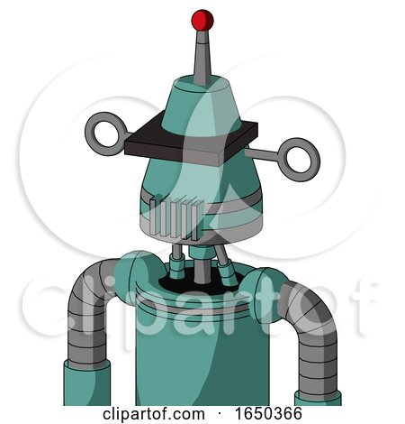 Greenish Mech with Cone Head and Vent Mouth and Black Visor Cyclops and Single Led Antenna by Leo Blanchette