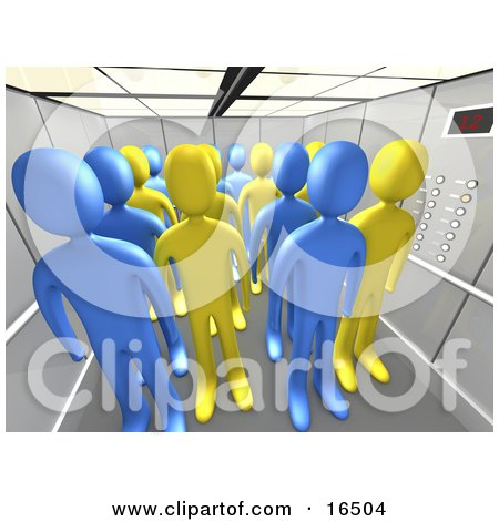 Blue And Yellow People In An Office Elevator  Posters, Art Prints