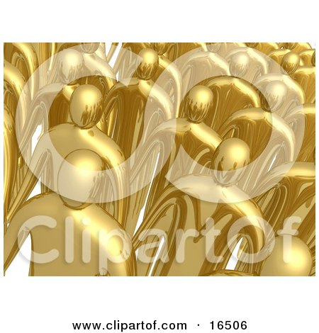 Group Of Gold Men Standing In Rows During A Meeting  Posters, Art Prints
