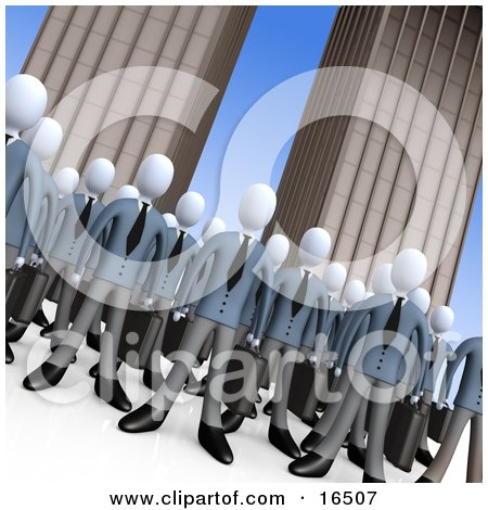 Crowd Of Businessmen Standing Together In Front Of Tall Office Building Skyscrapers, Symbolizing Teamwork Or Cloning  Posters, Art Prints