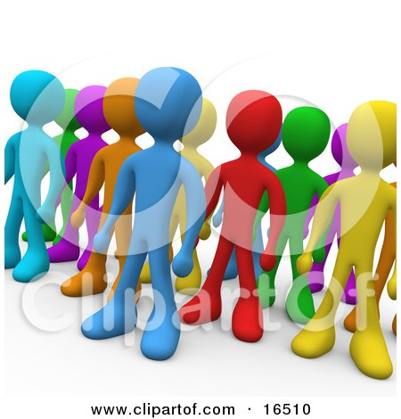Crowd Of Diverse And Different Colored People Standing In A Group  Posters, Art Prints