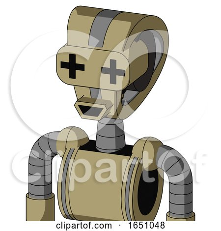 Army-Tan Automaton with Droid Head and Happy Mouth and Plus Sign Eyes by Leo Blanchette