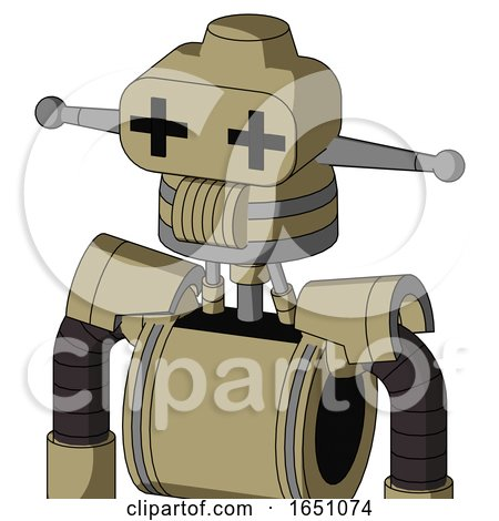 Army-Tan Automaton with Cone Head and Speakers Mouth and Plus Sign Eyes by Leo Blanchette