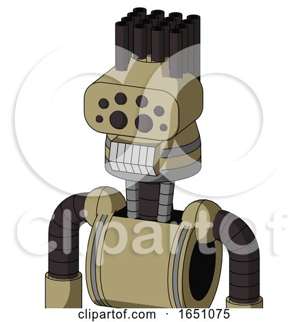 Army-Tan Automaton with Cone Head and Teeth Mouth and Bug Eyes and Pipe Hair by Leo Blanchette