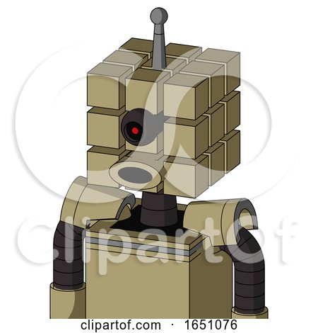 Army-Tan Automaton with Cube Head and Round Mouth and Black Cyclops Eye and Single Antenna by Leo Blanchette