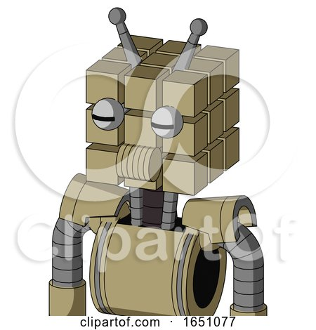 Army-Tan Automaton with Cube Head and Speakers Mouth and Two Eyes and Double Antenna by Leo Blanchette
