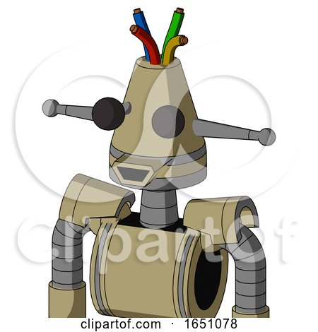 Army-Tan Automaton with Cone Head and Happy Mouth and Two Eyes and Wire Hair by Leo Blanchette
