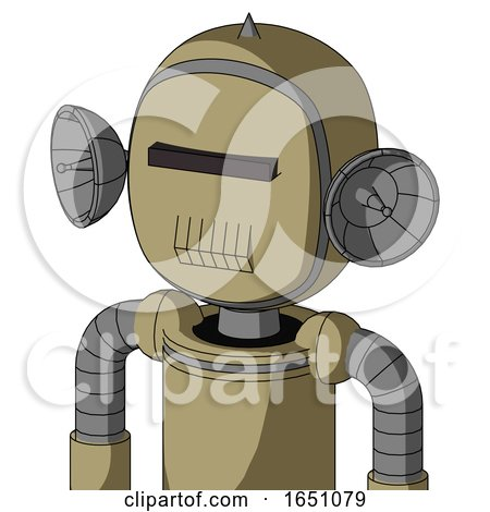 Army-Tan Automaton with Bubble Head and Toothy Mouth and Black Visor Cyclops and Spike Tip by Leo Blanchette