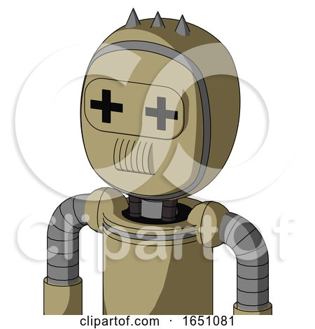 Army-Tan Automaton with Bubble Head and Speakers Mouth and Plus Sign Eyes and Three Spiked by Leo Blanchette
