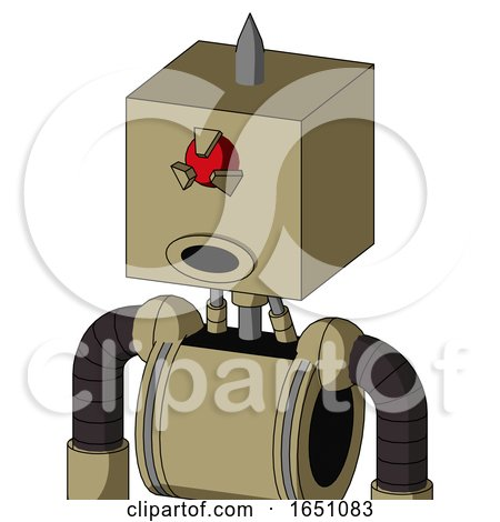 Army-Tan Automaton with Box Head and Round Mouth and Angry Cyclops Eye and Spike Tip by Leo Blanchette