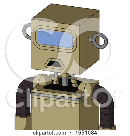 Army-Tan Automaton with Box Head and Sad Mouth and Large Blue Visor Eye by Leo Blanchette