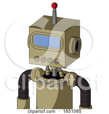 Army-Tan Automaton with Box Head and Pipes Mouth and Large Blue Visor Eye and Single Led Antenna by Leo Blanchette