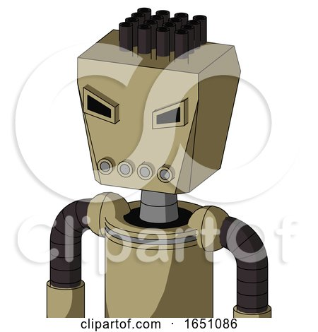 Army-Tan Automaton with Box Head and Pipes Mouth and Angry Eyes and Pipe Hair by Leo Blanchette