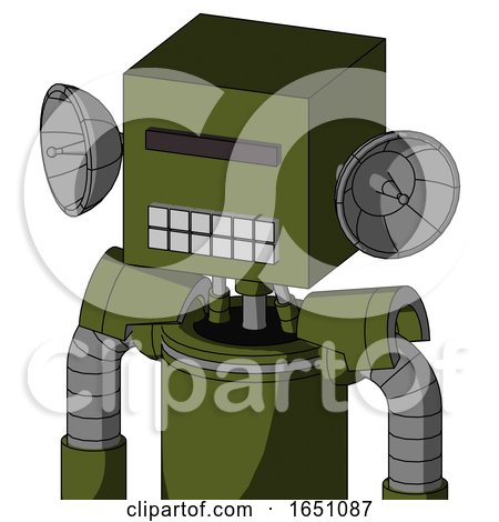 Army-Green Automaton with Box Head and Keyboard Mouth and Black Visor Cyclops by Leo Blanchette