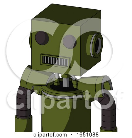 Army-Green Automaton with Box Head and Square Mouth and Two Eyes by Leo Blanchette