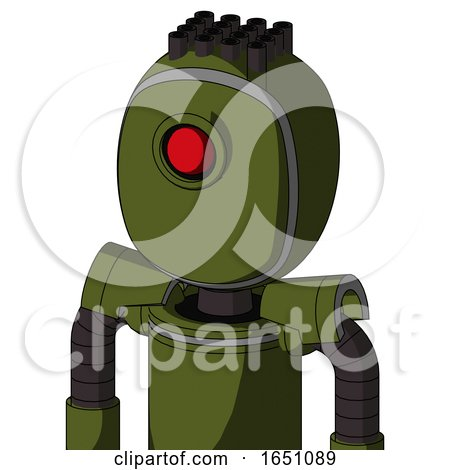 Army-Green Automaton with Bubble Head and Cyclops Eye and Pipe Hair by Leo Blanchette