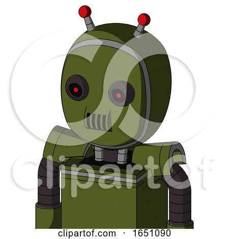 Army-Green Automaton with Bubble Head and Speakers Mouth and Black Glowing Red Eyes and Double Led Antenna by Leo Blanchette
